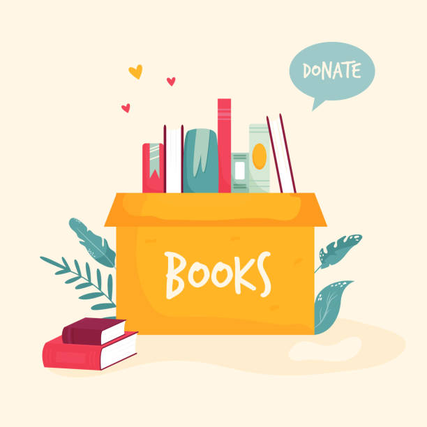 Cardboard box with books for donations, charity. Colorful vector illustration