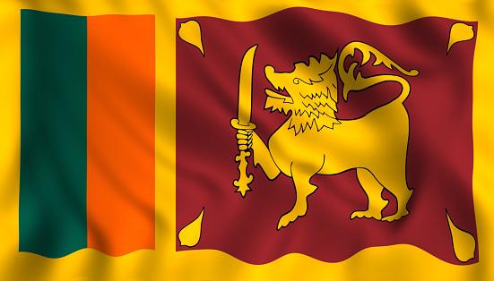 Sri lanka flag waving symbol sri lankan