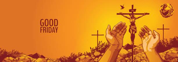 Good Friday, vector illustration of Jesus Christ Crucifixion.